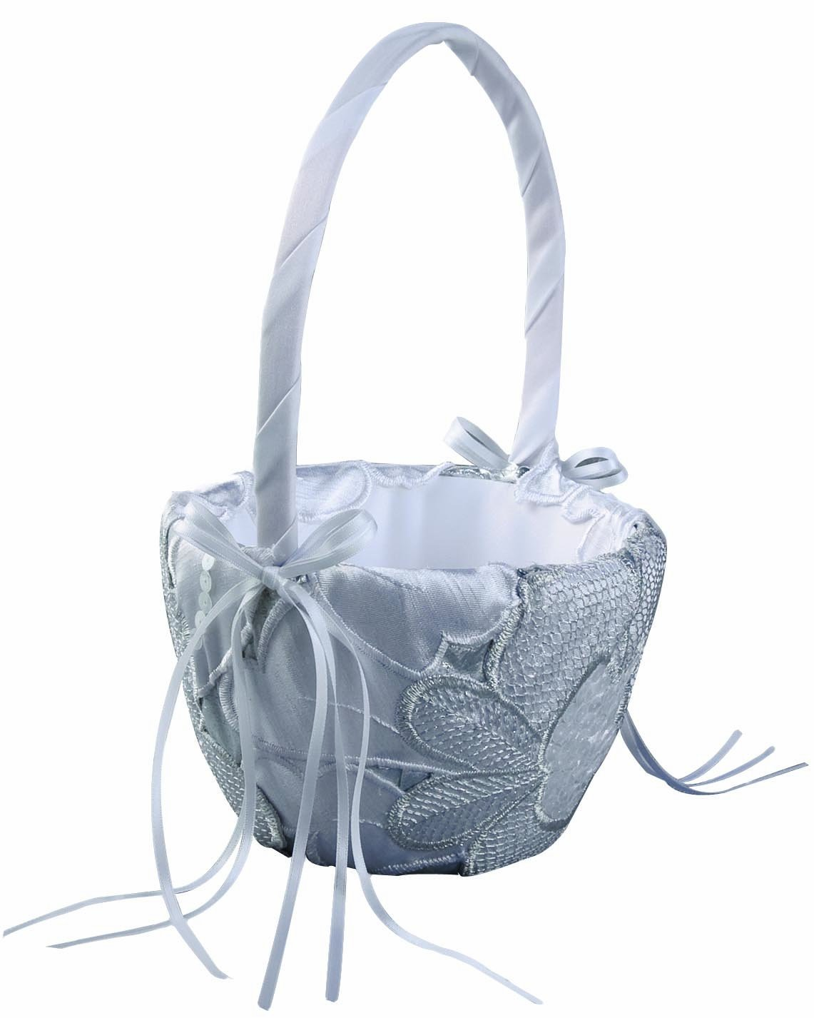 Ivy Lane Design New York Collection Flower Girl Basket, Silver and White