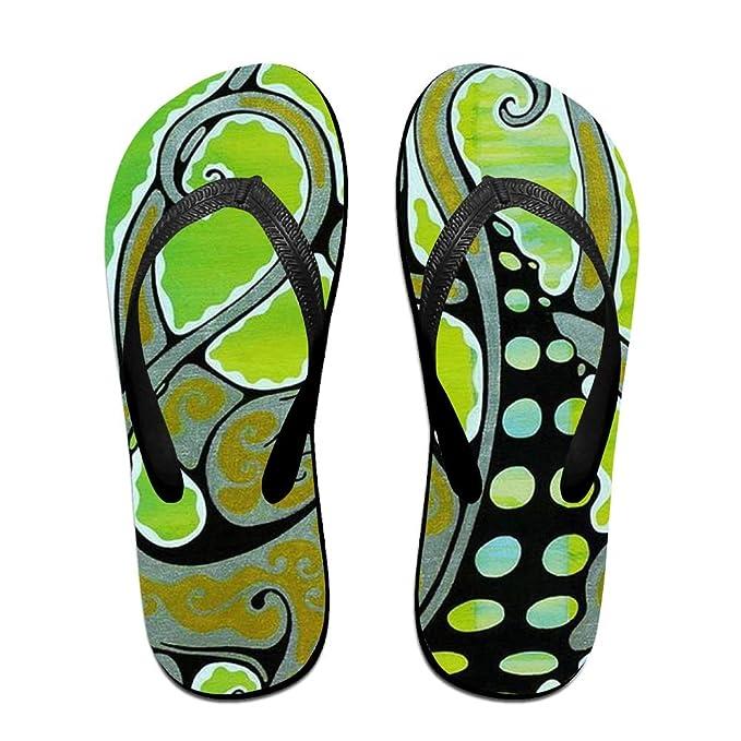 Green Octopus Women's Men's Lightweight Flip Flops Beach Slippers Shower Sandal
