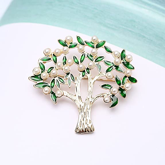 bc9d959da Amazon.com: AOCHEE Enamel Coconut Palm Brooch Pin Green Leaves Pearl Tree  Brooch Lapel Stick Pin for Hat,Bag,Suit (#2): Jewelry
