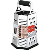 Utopia Kitchen Cheese Grater for Kitchen Stainless Steel 6-Sides - Easy to Use and Non-Slip Base