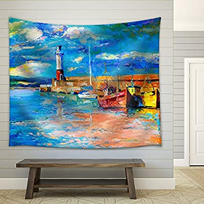 Made to Last, Unbelievable Craft, Original Oil Painting of Lighthouse and Boats Rich Golden Sunset Over Ocean Fabric Wall