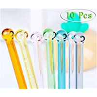 MaiKeEr 10 Pcs Multicolor Glass Straw, Round Head Reusable Drinking Straw Cocktail Straw Coffee Straw High Boron…