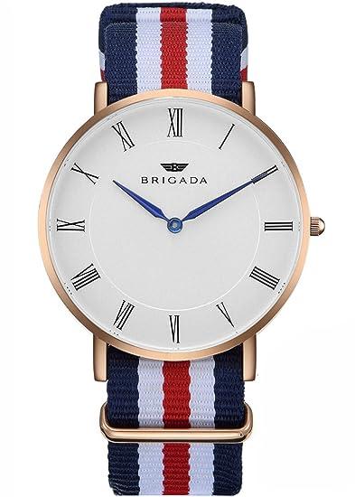 97de4f3ca588 BRIGADA Minimalist Men s Quartz Wrist Dress Watch Swiss Brand Waterproof  Watches for Men Nylon Band Rose