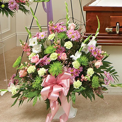 PlantShed - Heartfelt Tribute Floor Basket Arrangement Pastel - Flower Hand Delivery in NYC Local Manhattan Florist