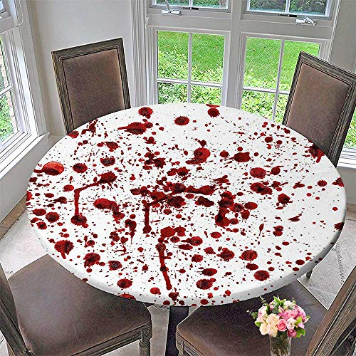 Mikihome Luxury Round Table Cloth for Home use Bloodstain Scary Zombie Halloween Themed Print Red White for Buffet Table, Holiday Dinner 31.5