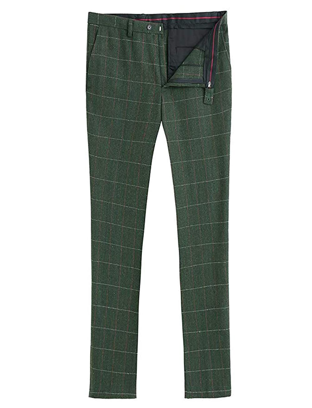 Mens Pants Tweed Wool Blend Classic Trousers Plaid Dress Pants with Hidden Expandable Waist