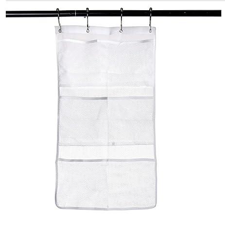Doupoo Mesh Bath Shower Organizer Shower Caddy Hang On Shower Curtain Rod /  Liner Hooks