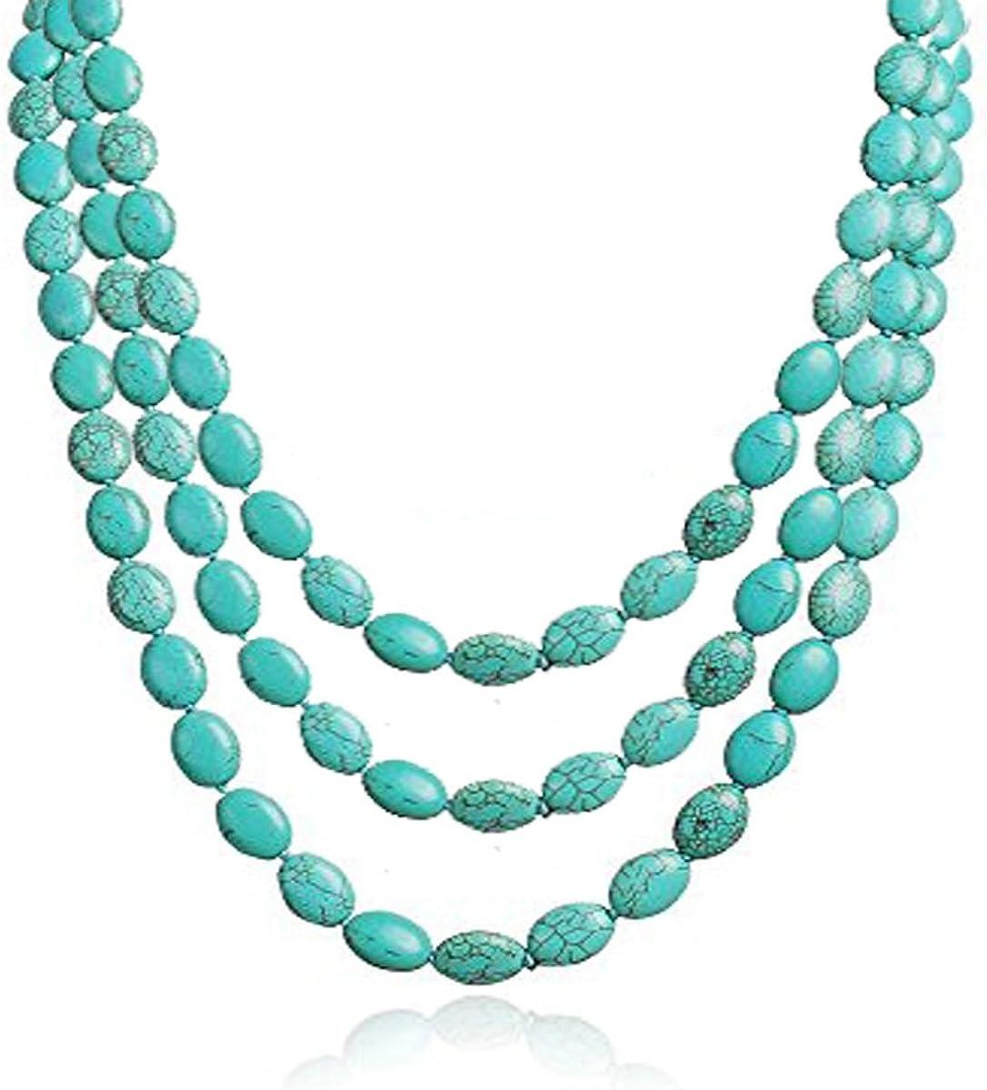 TreasureBay - Collar de tres hebras de piedras preciosas turquesa para mujer