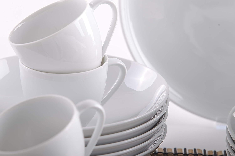 Kahla 710973M90071XO Jazz wei/ß Porzellanservice f/ür 6 Personen Geschirrset 30-teilig modernes Kombiservice Komplettset rund Teller Tassen Porzellangeschirr