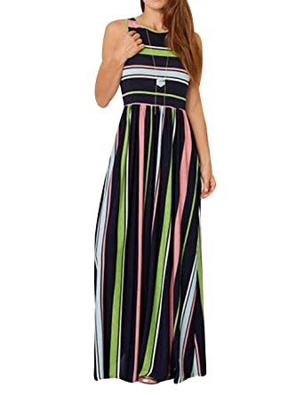 8b16bf43dcb ORQ Women s Casual Loose Striped Round Neck Long Sleeve Fit and Flare Long  Maxi Dress