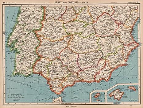 Iberia South. España & Portugal. Andalusia Murcia Valencia Extremadura - 1944 - Mapa Antiguo Vintage - Mapas Impresos de Iberia: Amazon.es: Hogar