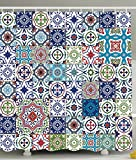 Patchwork Decor Theme Mosaic Ceramic View Moroccan Tile Traditional Bath Decorations Art Print Eastern Style Polyester Fabric Shower Curtain Navy Green Burgundy Red Brown Teal