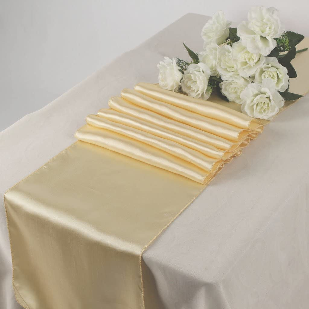 ITALY'S HOME PACK OF 40 SIZE 12 INCH - BY - 108 INCH SATIN TABLE RUNNER (40, CHAMPAGNE)