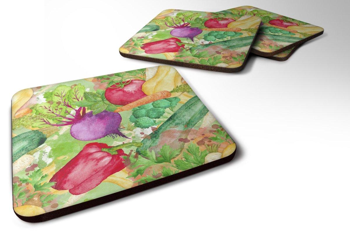 Caroline 's Treasures bb7572fc 4水彩野菜ファームをテーブルFoamコースターのセットSet of 4、3 1 / 2 x 3 1 / 2、マルチカラー   B073GCH915