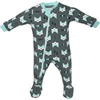 ZippyJamz Organic Baby Footed Sleeper Pajamas with Inseam Zipper