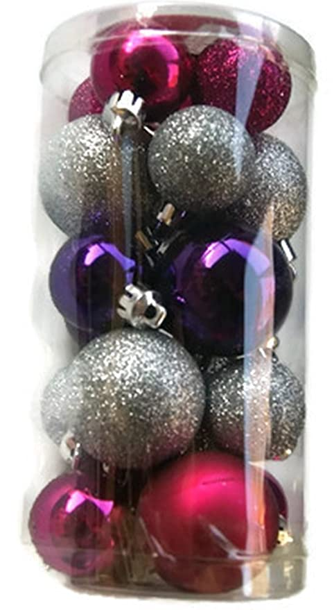holiday time miniature christmas tree shatterproof ornaments pink silver purple 20 count