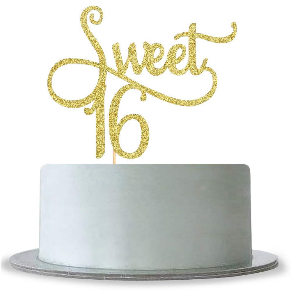 Amazon Gold Sweet 16 Cake Topper