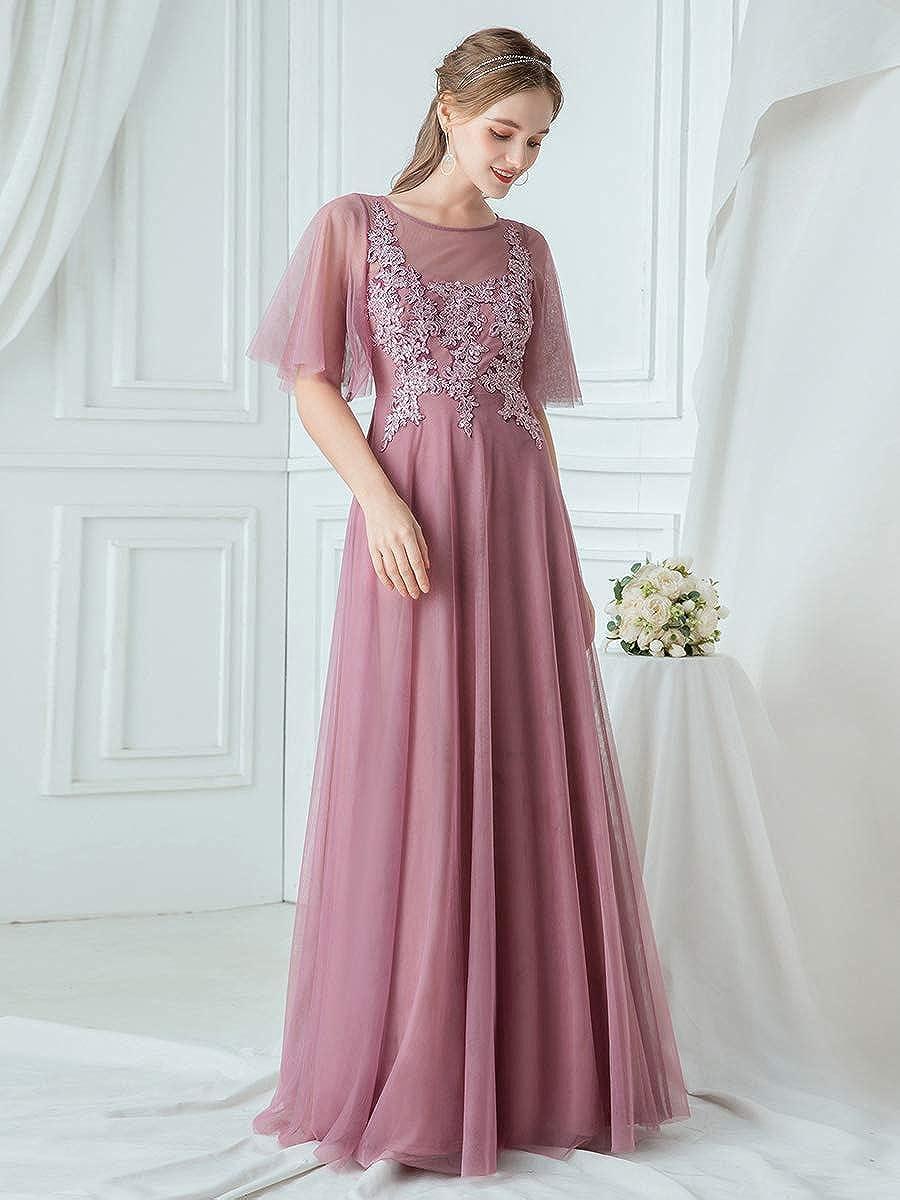 Ever-Pretty Vestito da Cerimonia Donna Tulle Girocollo Linea ad A Maniche Corte Stile Impero Lungo 00747