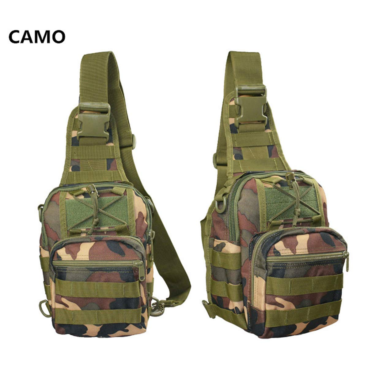 Outdoor Sling Chest Bag Multifunctional Camouflage Military Shoulder Crossbody Backpack Bag Oxford Waterproof Male And Female Sports Bag for Casual Camping Camo