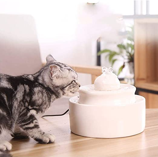 IMDOU Dispensador de Agua for Mascotas, Gato de cerámica Fuente de Agua, Ultra silencioso automático de la circulación del Agua, prevenir la Piel Seca Burning Diseño Hacer Gatitos más como: Amazon.es: Productos