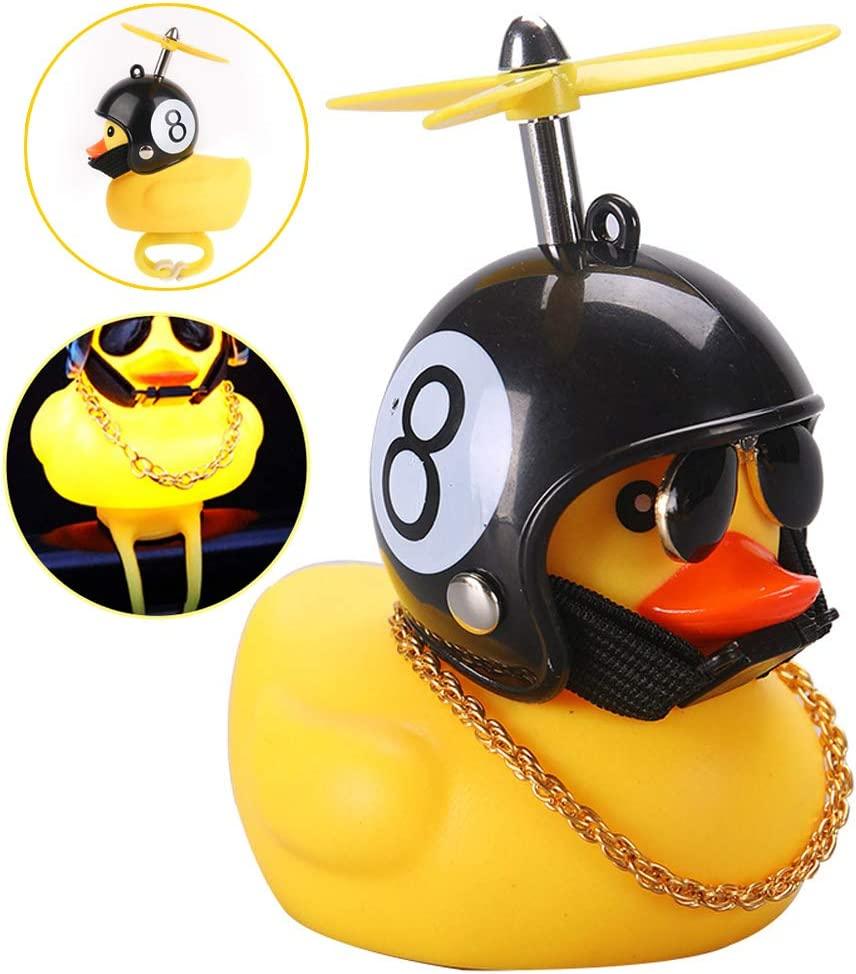 wonuu Rubber Duck Toy Car Ornaments Yellow Duck Car Dashboard Decorations Squeeze Duck Bicycle Horns with Propeller Helmet for Adults, Kids, Women, Men