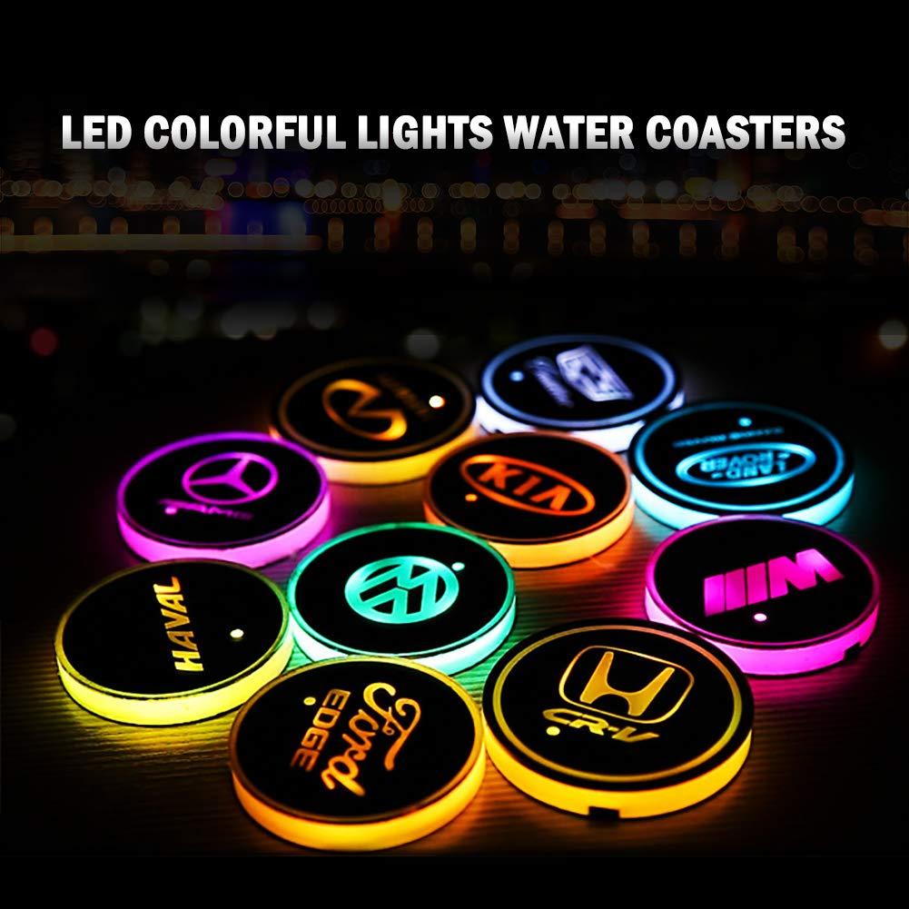 2 PC Logo Coaster LED Car Bowl Holder Mats Mat Waterproof Coaster Waterproof Bottle Drinks Coaster Built-in Bright and Car Interior Decoration Light