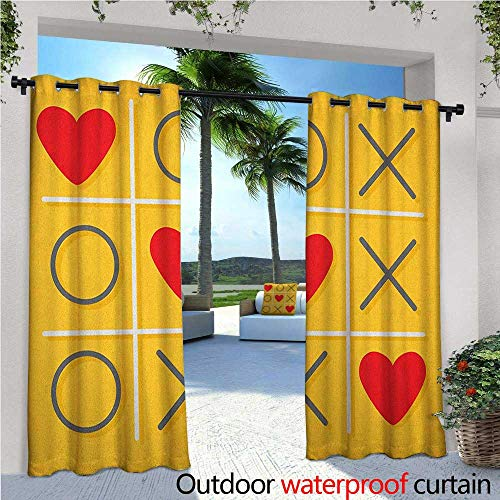 "Love Outdoor- Free Standing Outdoor Privacy Curtain Tic-Tac-Toe Game with Xoxo Design Let Me Kiss You Valentines Romantic Illustration for Front Porch Covered Patio Gazebo Dock Beach Home W72"" x L84"""
