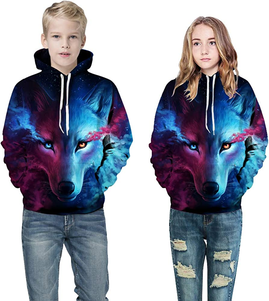 OYABEAUTYE Boys Teen 3D Print Graphic Sweatshirts Long Sleeve Pullover Hoodies with Pocket