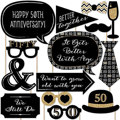 Big Dot of Happiness 50th Anniversary - Photo Booth Props Kit - 20 ()