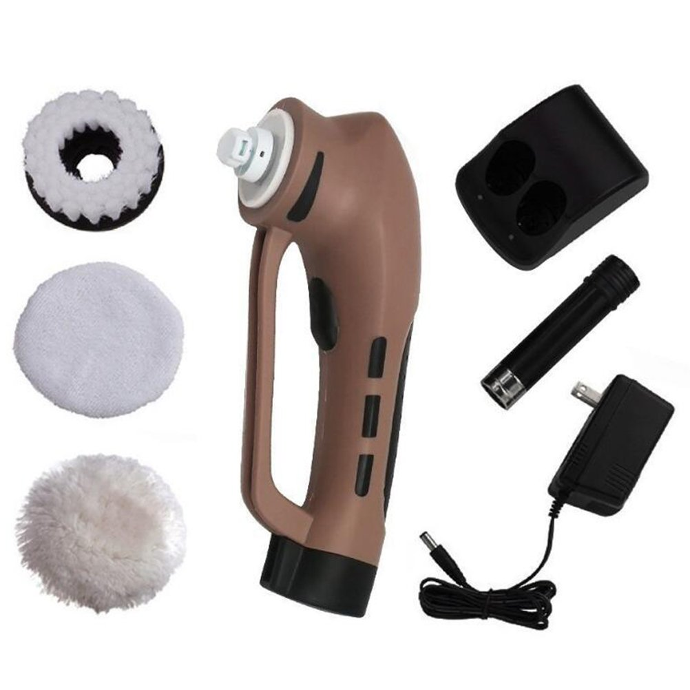 GSPOR Electric Shoe Shine Kit, Cordless Power Scrubber Shoe Polishers, for Leather Shoes Cleaning, Oiling and Polishing Sofa Floor Care