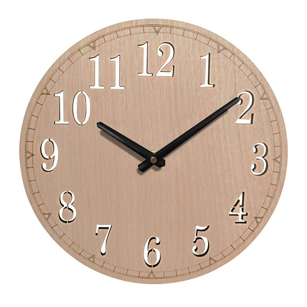 Giftgarden 12-inch Silent Wall Clock Non-Ticking Quartz Wood Clocks, Perfect Round Home Wall Craft for Bedroom, Living Room, Kitchen