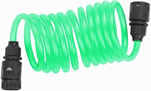 FUNJEE Coil Hose Recoil Garden Water Hose Ideal for Cleaning car, Watering Yard and Washing pet. (10FT, Green)