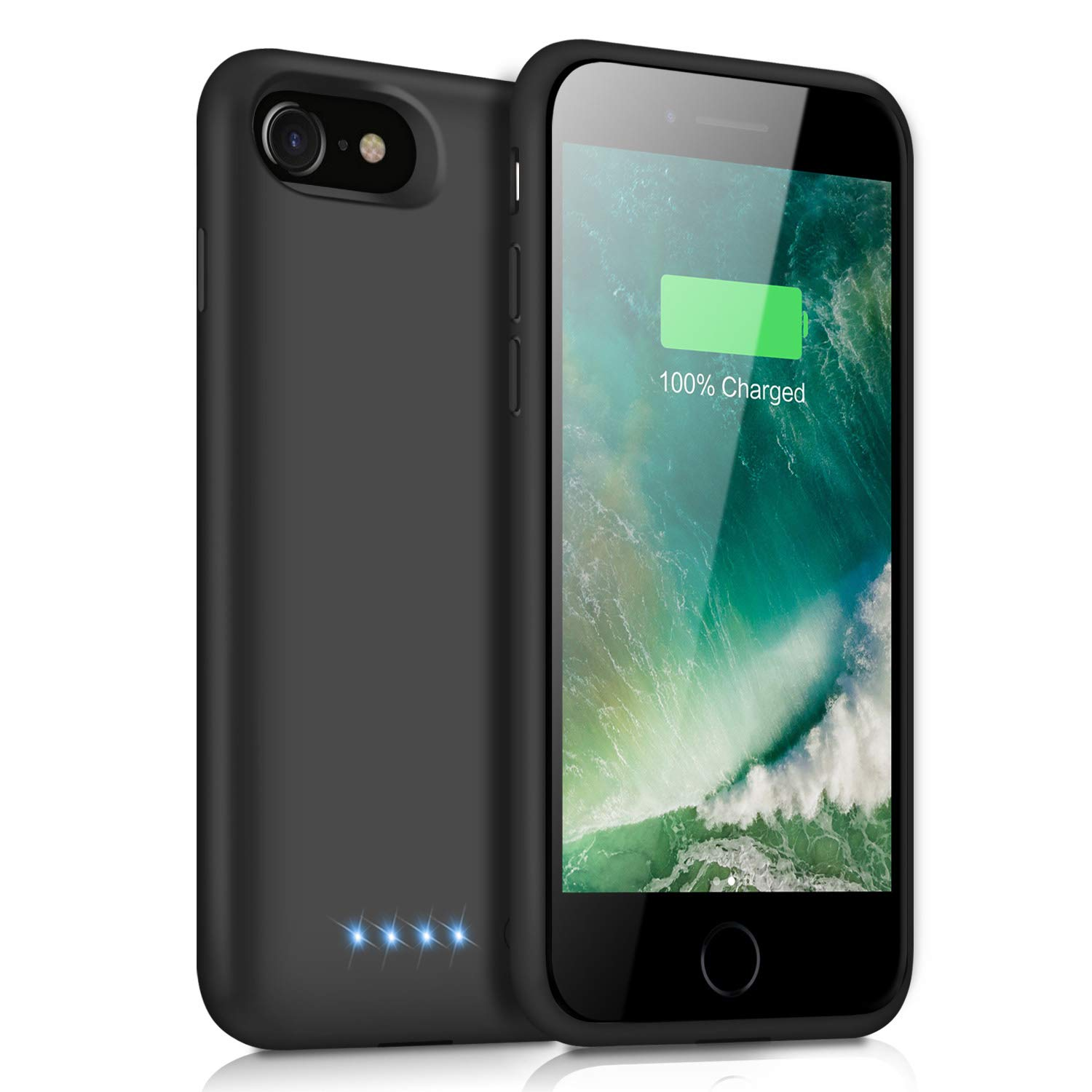 Battery Case for iPhone 8/7, Yacikos 6000mAh Portable Charging Case Rechargeable Extended Battery Pack for iPhone 8/7(4.7') Protective Charger Case Backup Power Bank Cover (Black)
