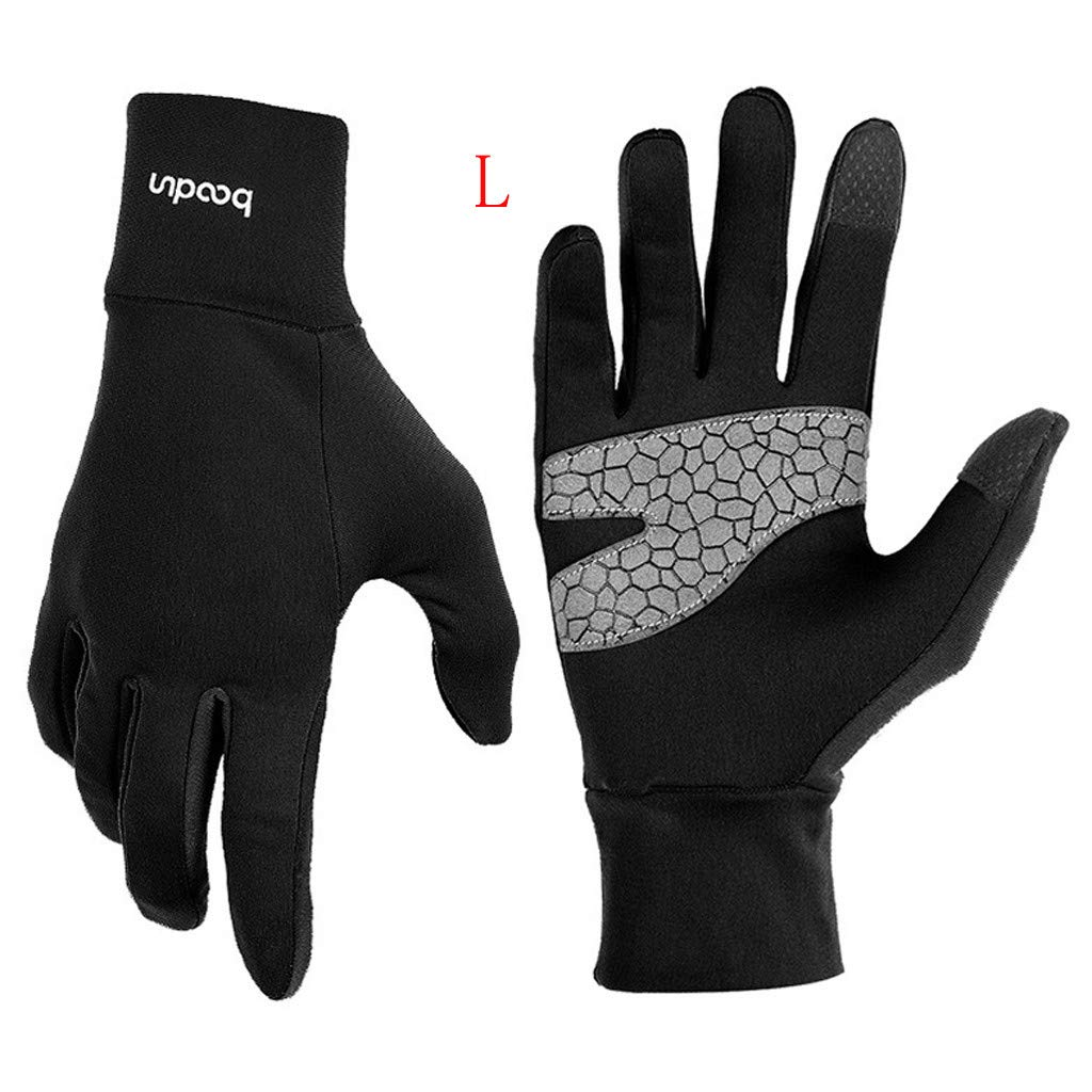 Unisex Winter Gloves, Warm Thermal Gloves Running Gloves Cold Weather Gloves Driving Riding Cycling Gloves Outdoor Sports Gloves for Men and Women (Black, L)