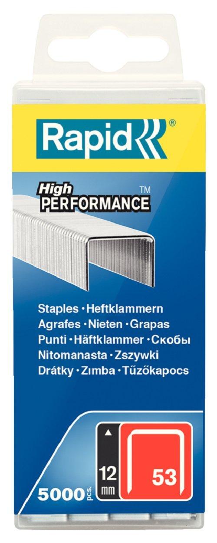 Rapid, 40303086, Agrafes en fil fin N°53, Longueur 12mm, 5000 pièces, Pour le textile et la décoration, Fil galvanisé, Haute performance