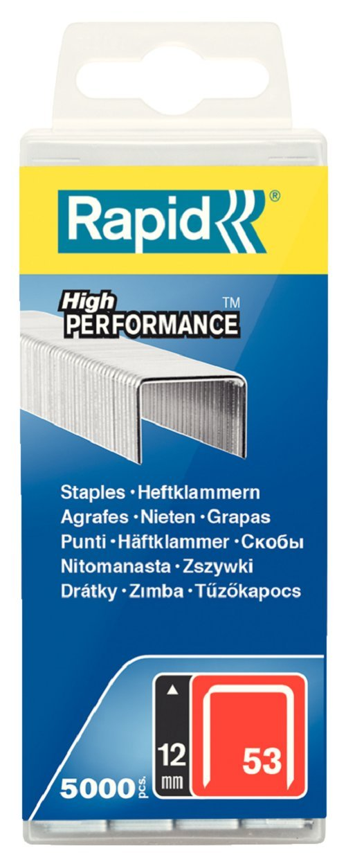 Rapid High Performance Staples, No.53, Leg Length 12 mm, 40303086-5000 Pieces
