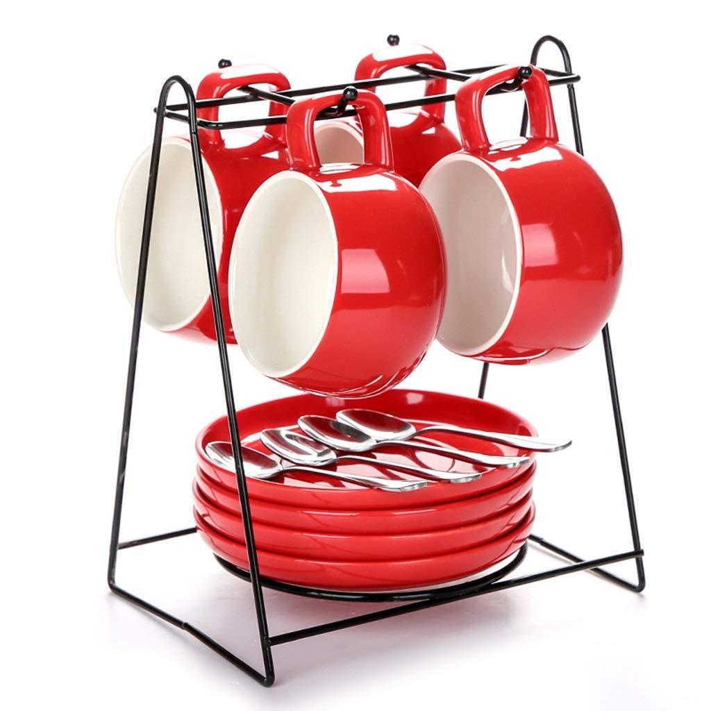 家族のカップとソーサー用ウェディングホーム磁器ティーセットセラミック磁器カップセット付きカップホルダーセラミック (色 : 赤)  赤 B07PXW9PTY