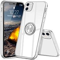 iPhone 11 ケース スマホリング カバー リング 透明 TPU クリア リング付き 回転リング アイフォン11 ケース 磁気カーマウントホルダー スタンド 携帯ケース 耐衝撃 薄型 レンズ保護ト 超耐久 一体型 人気 防塵 (クリスタル・クリア)