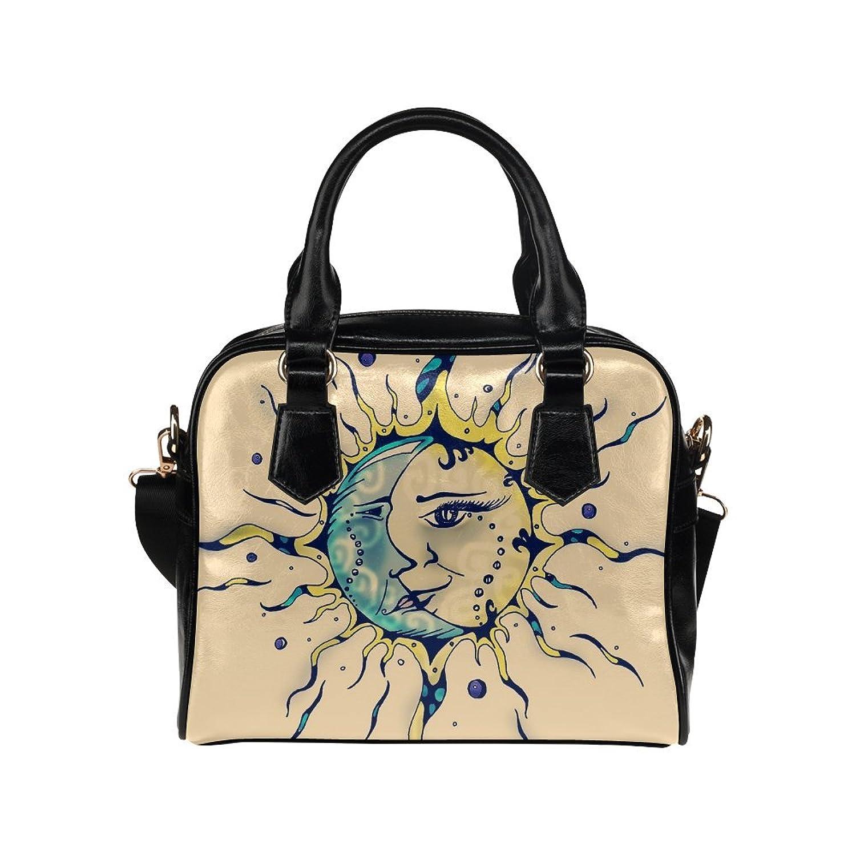 meincare Women's Moon and Sun Face PU leather Aslant Shoulder Tote Handbags