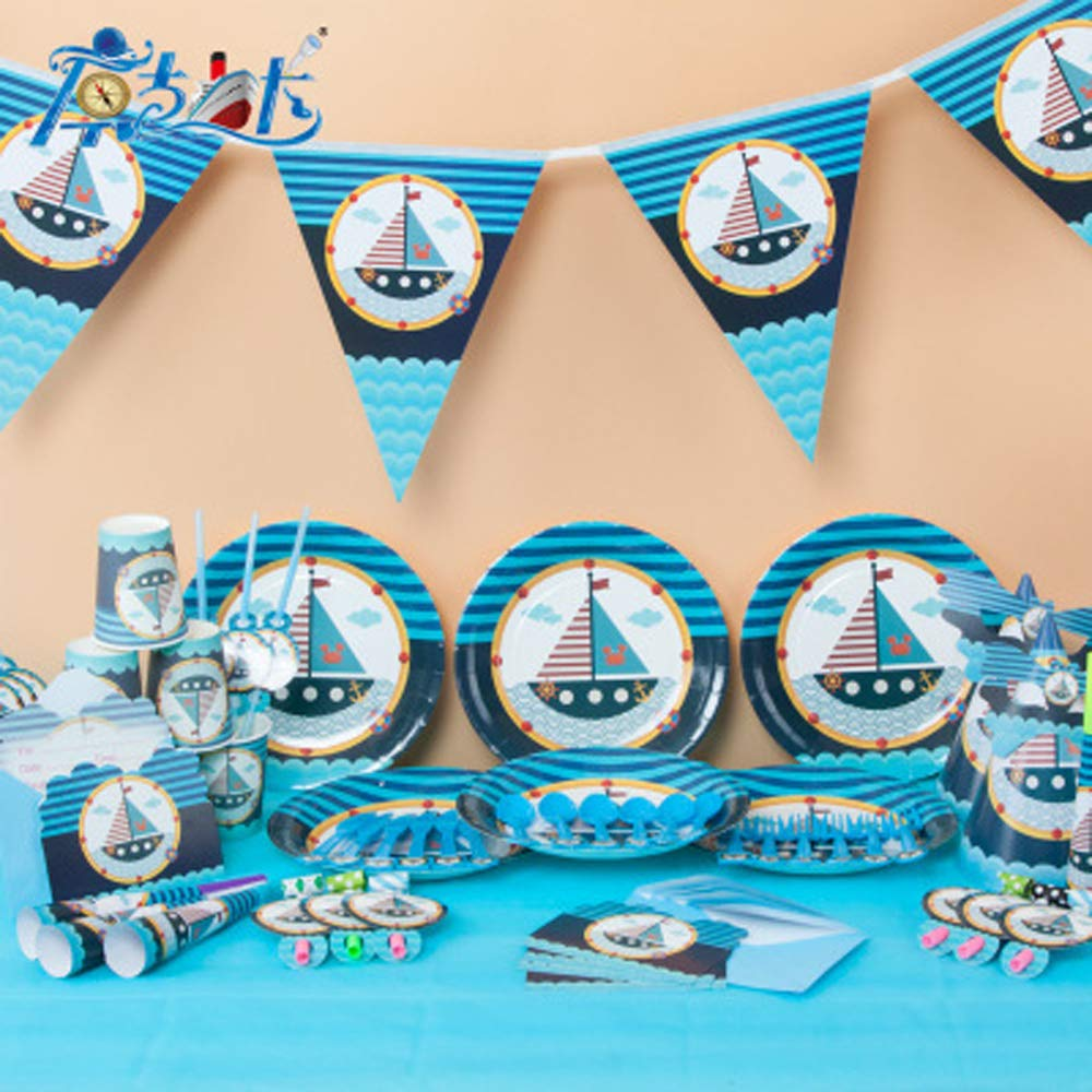 QIAN SHENG Nautical Party Supplies, Sailor Nautical Happy Birthday Banner Anchor Sailboat Yacht Lighthouse Garland Bunting Sign for Birthday Party,Baby Shower,Anniversary Party Decoration Supplies
