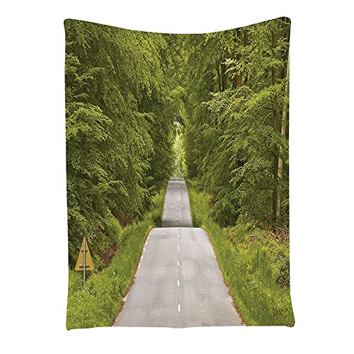 Wall Hanging - Woodland Decor Collection The Winding Road And Dense That Leads Scenery Wall Hanging Tapestry Green - Utensil Office Pattern Macrame Shelf Bike Evil Ironing Organizer - Holder Picture Frames Jewlery