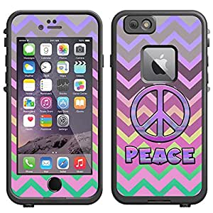 Skin Decal for LifeProof Apple iPhone 6 Case - Peace on Chevron Grey Plum Pink on Rainbow