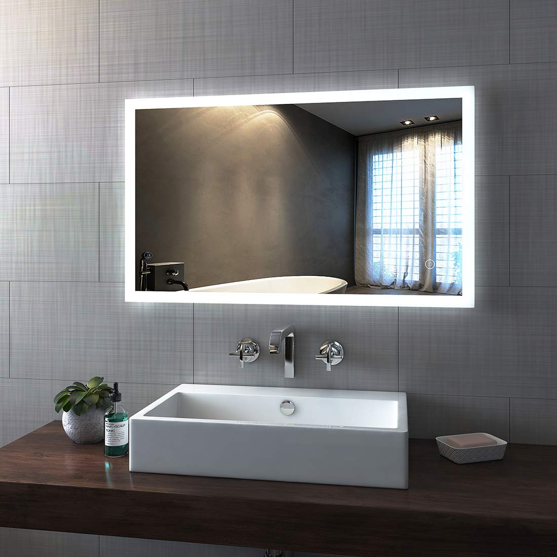 1000 x 700 mm   Touch + Demister - Style 1 Duschdeluxe 800 x 600 mm LED Illuminated Bathroom Mirror with Demister   Heated Backlit Bathroom Mirrors Light with Touch Sensor Switch + Demister Pad - Style 1