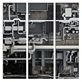 JP London X 3 Panels At 16in by 48in LTCNV1 X 691127 Jpl and Koji Tajima Present Circuit Rooftop Steampunk Pipe Machines Rage Triptych 3 Huge Overall Heavyweight Gallery Wrap Canvas, Extra Large