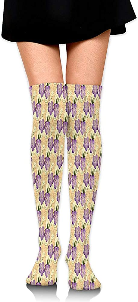 Over Knee High Socks,Romantic Purple Orchids with Tiny Wild Flowers Pointilistic Brush Stroked Design,60CM