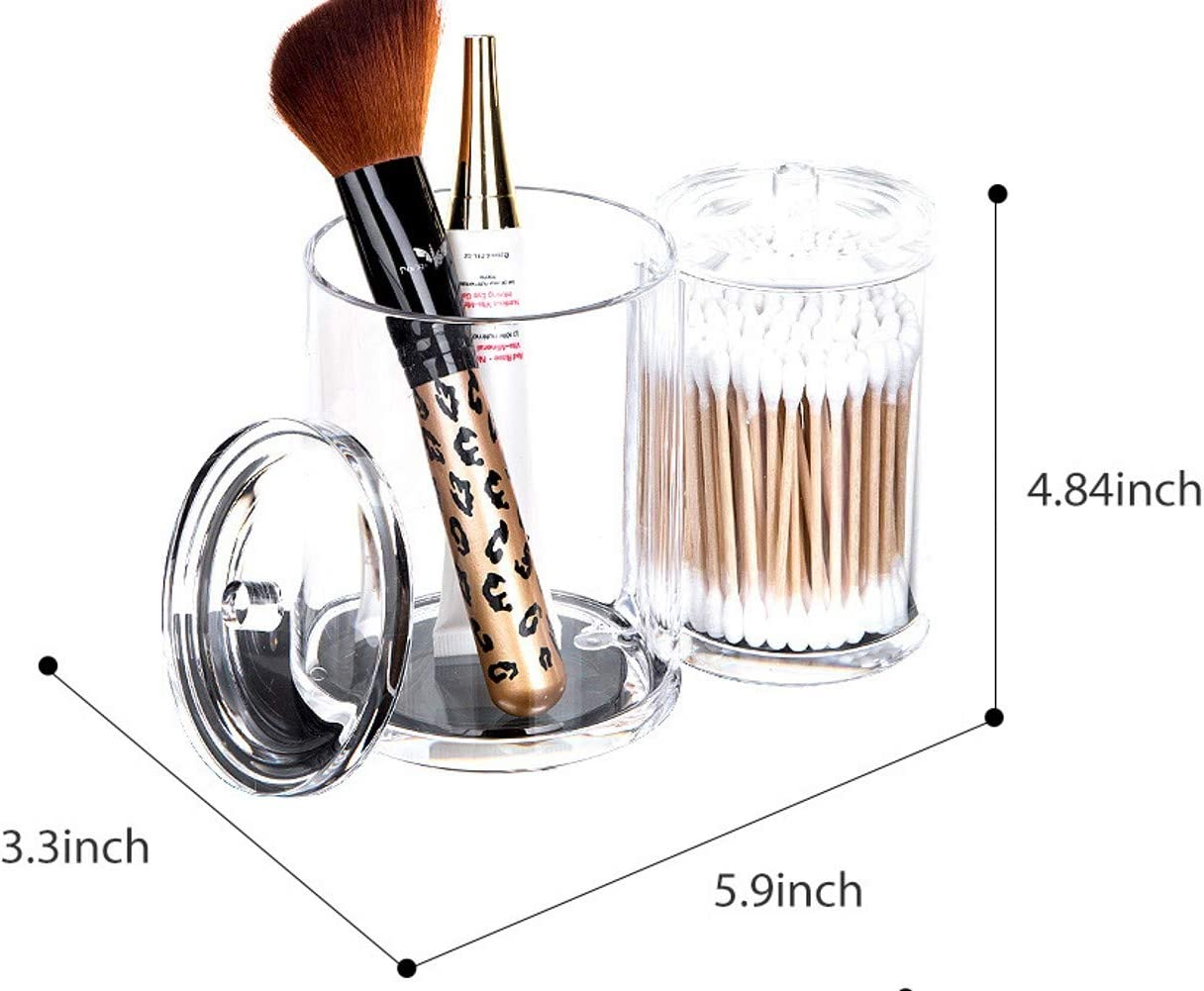 WELTRXE Distributeur de Cotons-tiges de Maquillage Organiseur de Salle de Bain Support de Cotons-tiges avec Couvercle