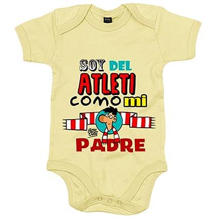 Body bebé Atlético de Madrid soy del Atleti como mi padre - Amarillo, 12-18 meses