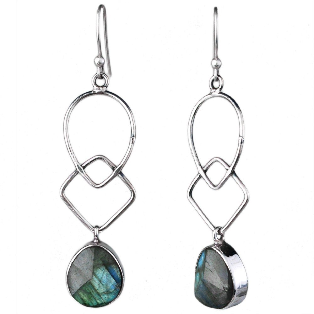 Crystalcraftindia fashion stylish /& classy earrings design for girls and women by Fire Labradorite gemstone dangle earrings 4.64 gms