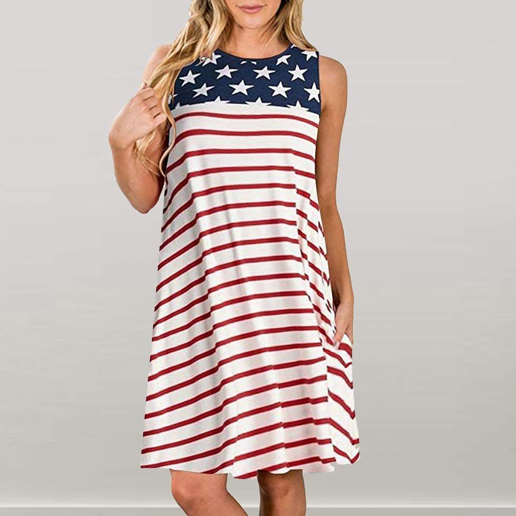 ce34af5790 Independence Day Dress Women Sleeveless Crewneck Loose T Shirt Dresses USA  Flag Print Stars Red and White Stripes Color Block Tank Midi Dress Summer  Casual ...