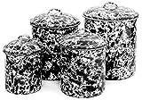Enamelware 4 Piece Canister Set - Black Marble